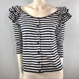 H&M Striped 3/4 Sleeve Scoop Neckline Cardigan